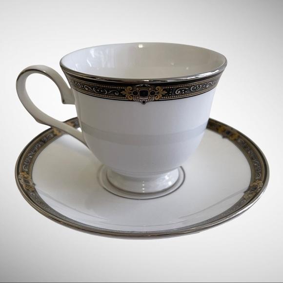 Lenox Jewel Tea Cup & Saucer 24K Gold Platinum